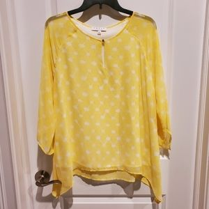 Chaus New York Yellow sheer overlay blouse